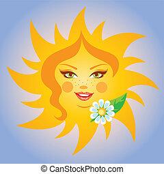 sole, sorridente, vettore, illustrazione