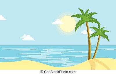 sole, spiaggia, cartone animato, paesaggio