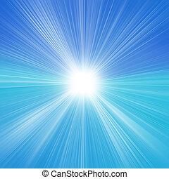 sole, su, cielo blu, con, lenti, bagliore