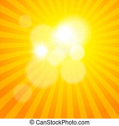 sole, sunburst, pattern., vettore, illustrazione