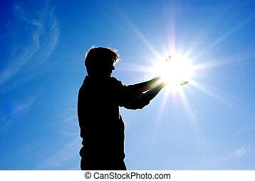 sole, uomo, prendere, mani