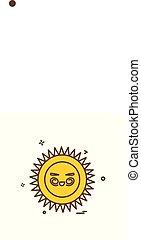 sole, vettore, disegno, icona