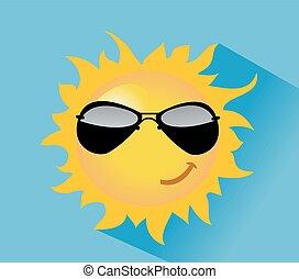 sole, vettore, illustrazione, alba