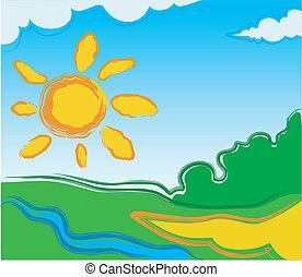 sole, vettore, paesaggio