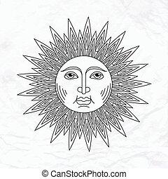 sole, vettore, tatuaggio