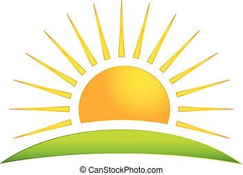 sole, vettore, verde, collina, logotipo, icona