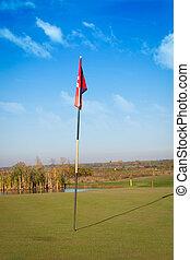 soleado, césped del golf, día