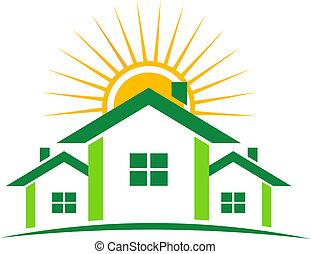 soleado, casas, logotipo
