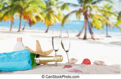 soleado, champaña, playa, flautas
