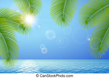 soleado, cielo azul, mar, y, palma, ramas