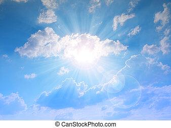 soleado, cielo, con, clouds.