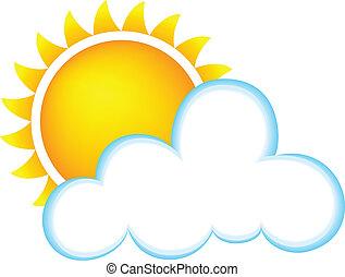 soleado, con, nubes