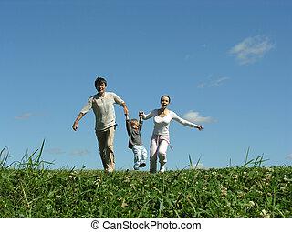 soleado, corriente, día de familia