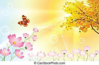 soleado, día de otoño, con, flores