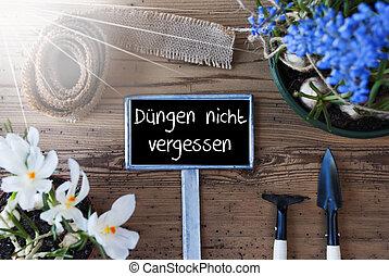 soleado, flores, señal, duengen, nicht, vergessen, medios, dont, olvídese, excremento