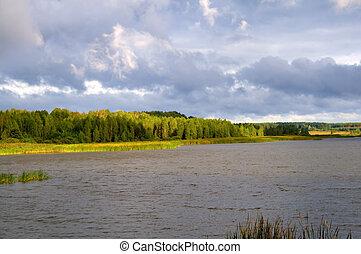 soleado, lago, día
