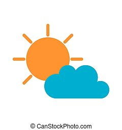 soleado, nube, sol, tiempo