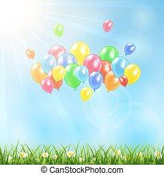 soleado, plano de fondo, con, pasto o césped, y, globos