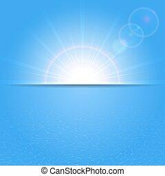 soleado, plano de fondo, y, agua