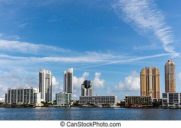 soleado, playa, florida, islas, ciudad