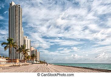 soleado, playa, florida, islas, miami