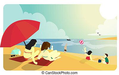 soleado, playa, gente
