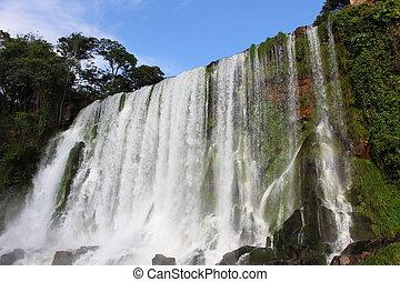 soleado, temprano, cascada, iguassu, cascadas, más grande, earth., día, morning.