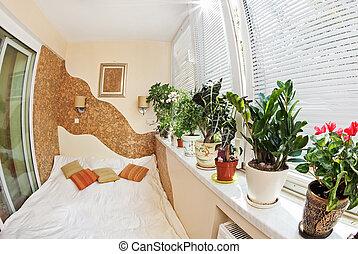 soleado, ventana, dormitorio, plantas, balcón, fisheye, ...