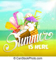 soleado, verano, fondo.
