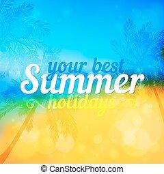 soleado, verano, vector, fondo, con, palmas