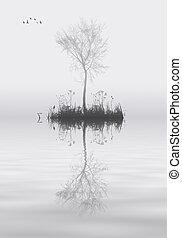 soledad, concepto, árbol, lago, paisaje