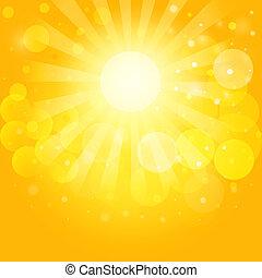soleggiato, cieli, e, bokeh., vettore, fondo, eps10.