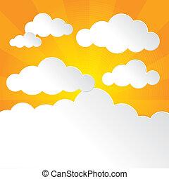 soleggiato, cielo, e, nubi