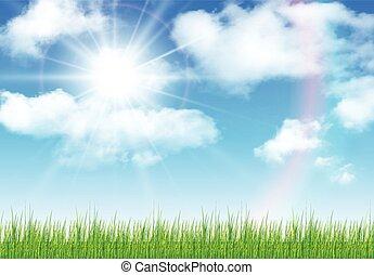 soleggiato, cielo, fondo