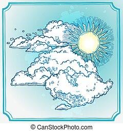 soleggiato, cornice, cielo
