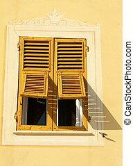 soleggiato, finestra, retro