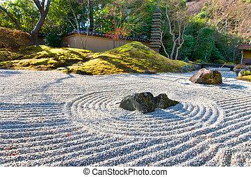 soleggiato, giardino zen, mattina