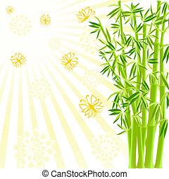 soleggiato, illustrazione, farfalle, vettore, fondo, bambù