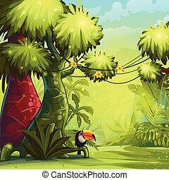 soleggiato, illustrazione, mattina, tucano, giungla, uccello