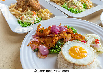 soleggiato, lato, cinese pesca, riso, cibo, dolce, mescolare-fritto, asiatico, piccante, uovo