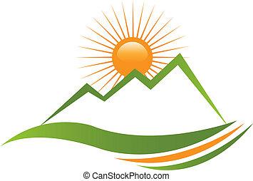 soleggiato, montagna, logotipo