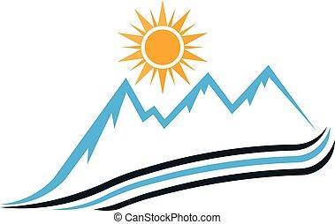 soleggiato, montagna, modo, logo., vettore, disegno