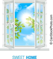 soleggiato, realistico, finestra, aperto, giorno, icona