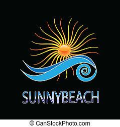 soleggiato, spiaggia, disegno, vettore, logotipo