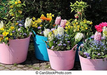 Bello otri grande fiorito gerani terrazzo azzurramento