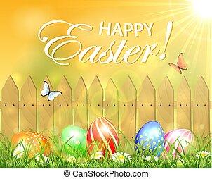 soleggiato, uova, pasqua, fondo, cancello