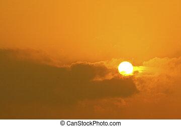 soleil, à, coucher soleil