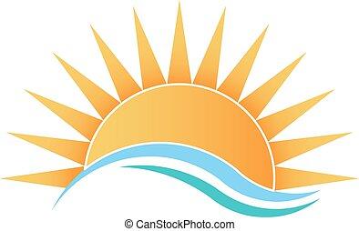 soleil, à, vagues