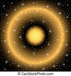 soleil, étoiles, espace