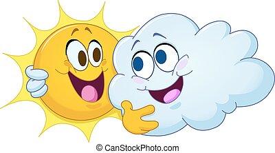 soleil, étreindre, nuage